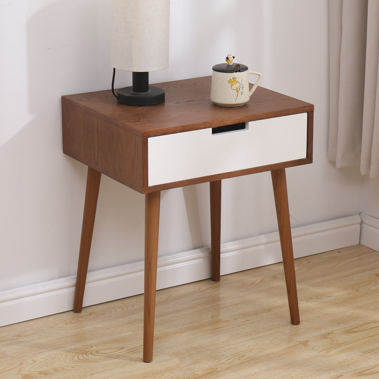 Dark Olive Green Light Fraxinus mandshurica/White Side End Table Nightstand with Drawer BH30005854