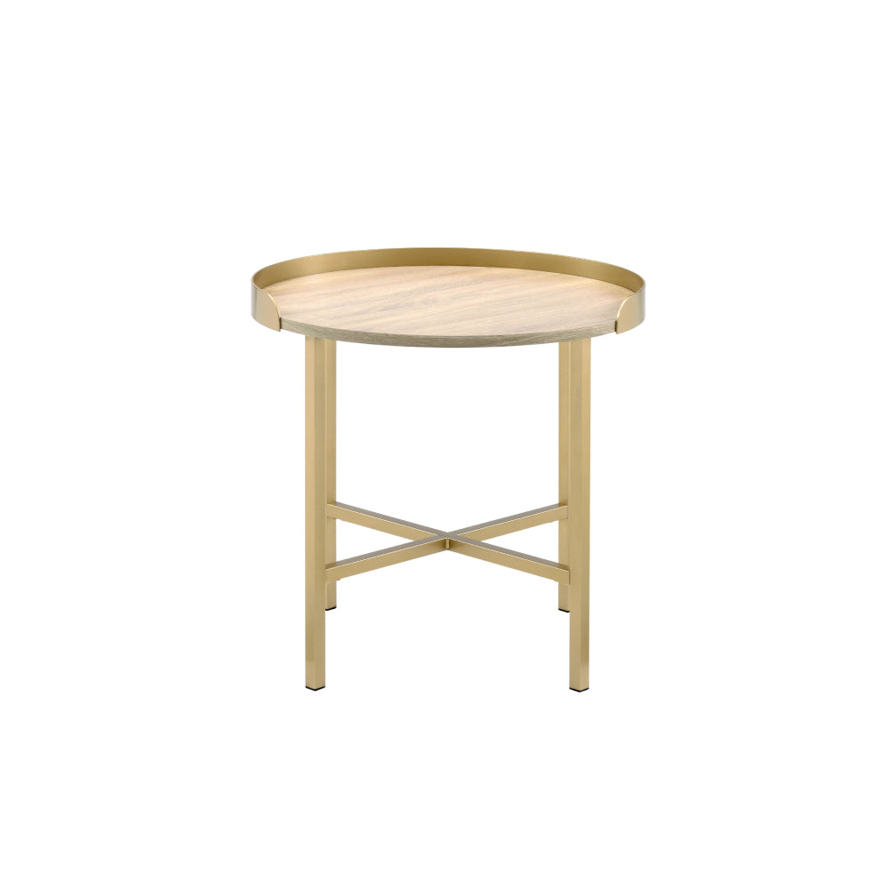 Tray Style Table Top Round End Table Oak & Gold Finish BH82337