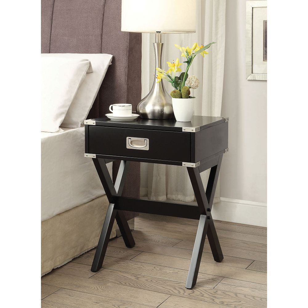 "Black Babs Square End Table With Wooden ""X"" Shape Base BH82820 BH82822 BH82824"