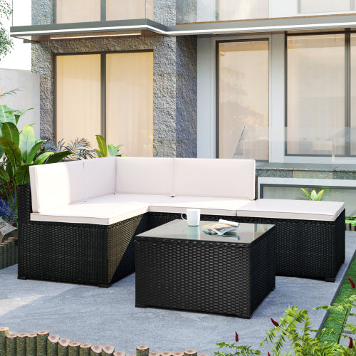 Misty Rose 5-Piece Patio Rattan PE Wicker Furniture Corner Sofa Set, with 2 Sofa chairs, 1 Corner chair, 1 ottoman and 1 glass coffee table, Sectional Sofa Chair, Seating, Lying(Black Wicker, Beige Cushion)