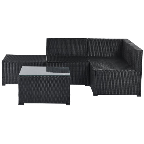 Dark Slate Gray 5-Piece Patio Rattan PE Wicker Furniture Corner Sofa Set, with 2 Sofa chairs, 1 Corner chair, 1 ottoman and 1 glass coffee table, Sectional Sofa Chair, Seating, Lying(Black Wicker, Beige Cushion)