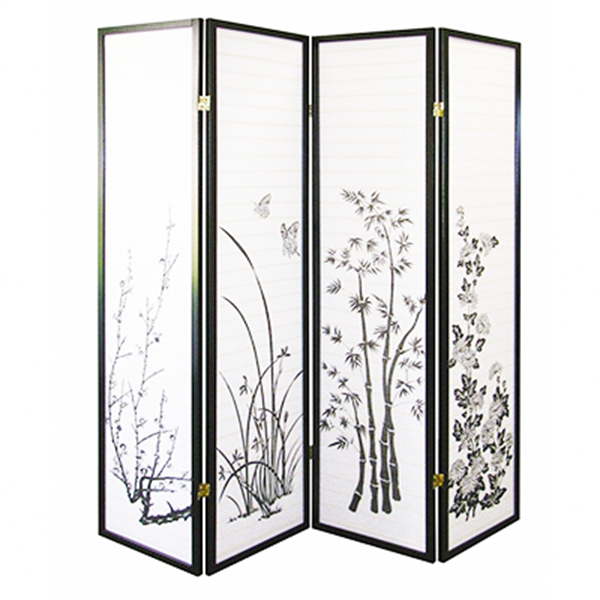 "4 Panels 70""x70"" Shoji Folding Room Divider Screen Room Separator Partition Wall Asian Style"