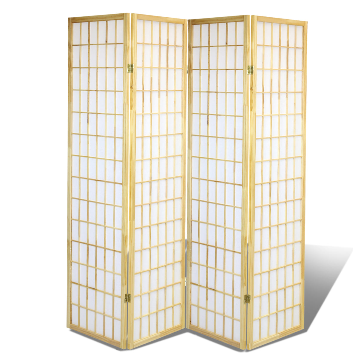 4 Panels Oriental Folding Room Divider Screen Hardwood Shoji Screen Room Separator Partition Wall