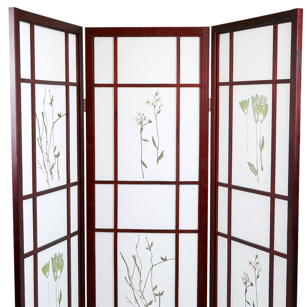 3 Panels Japanese Style Oriental Folding Room Divider Screen Hardwood Shoji Screen Room Separator Partition Wall Small Flowered Cherry