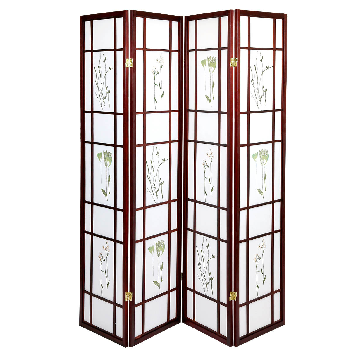 White Smoke 4 Panels Japanese Style Oriental Folding Room Divider Screen Hardwood Shoji Screen Room Separator Partition Wall Small Flowered Cherry