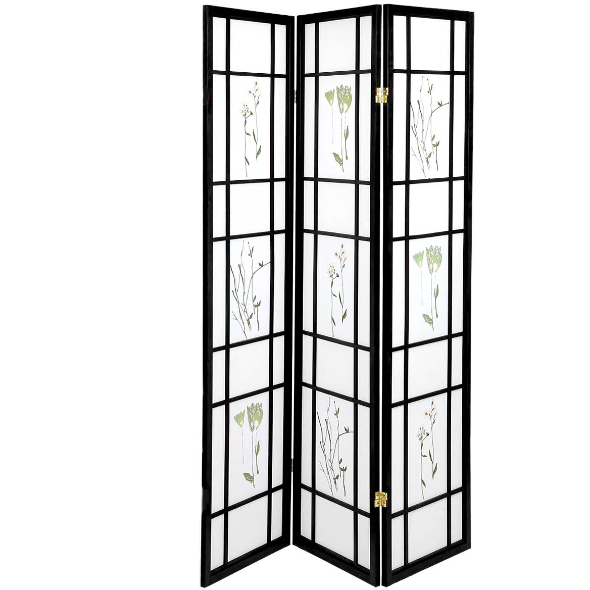 Shoji Folding Room Divider Screen Room Separator Partition Wall Hardwood Small Flowered Black Japanese Style 3 Panels