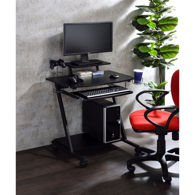 Rectangular Gaming Table w/Open Compartment + Keyboard Tray + Wheel Black Finish BH93127