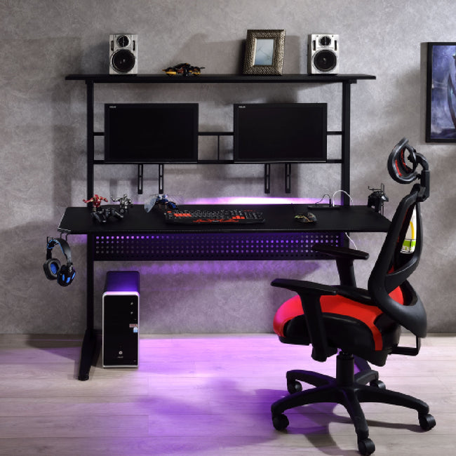 Rectangular Gaming Table w/USB Port + 2 Screen Holder + LED Light Black Finish BH93130
