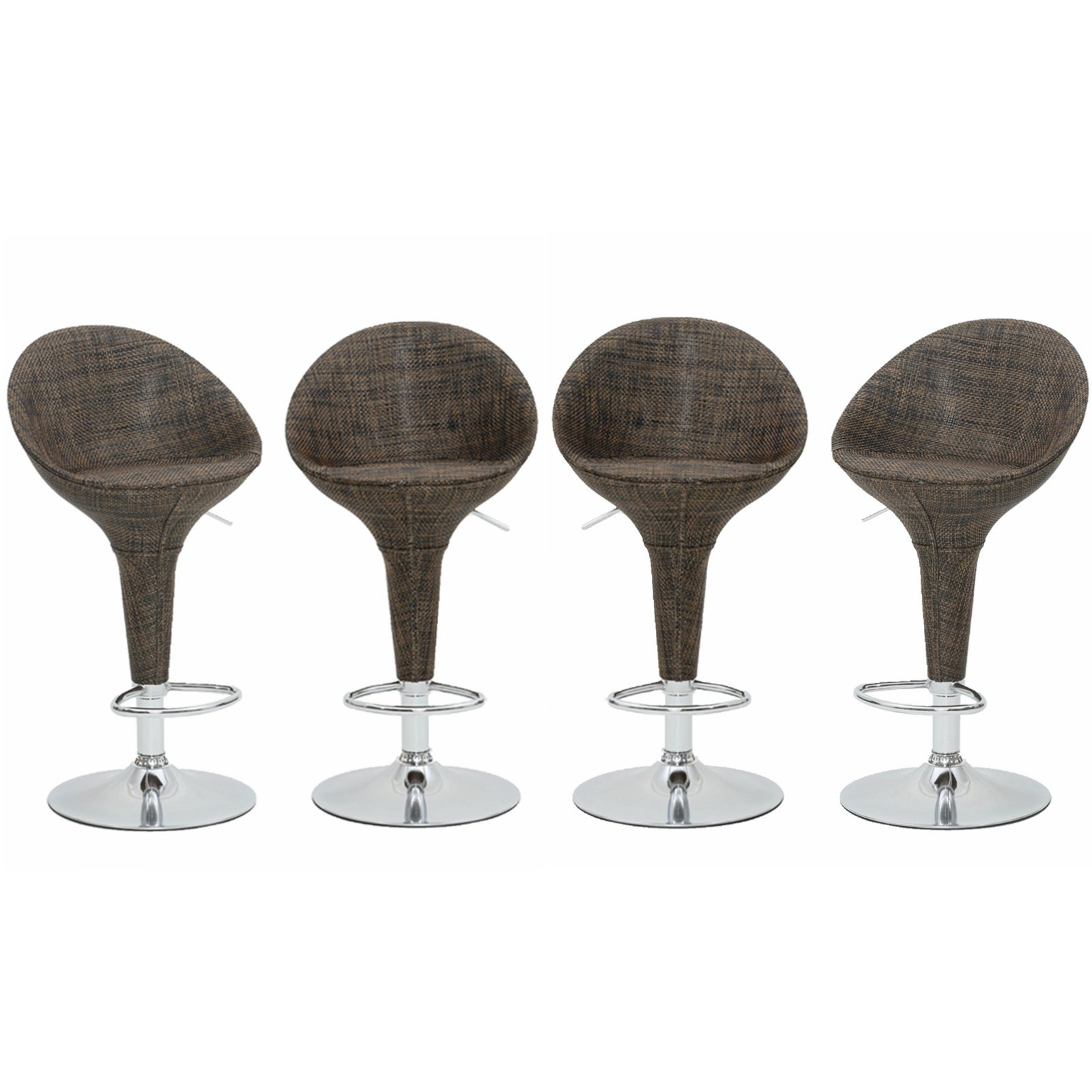4pc Rattan Wicker Modern Adjustable Pub Swivel Kitchen Stools Bar Stools with Backs Counter Stools