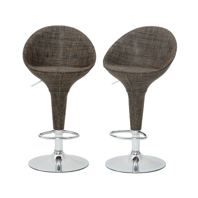 2pc Rattan Wicker Modern Adjustable Kitchen Stools Pub Swivel Bar Stools with Backs Counter Stools