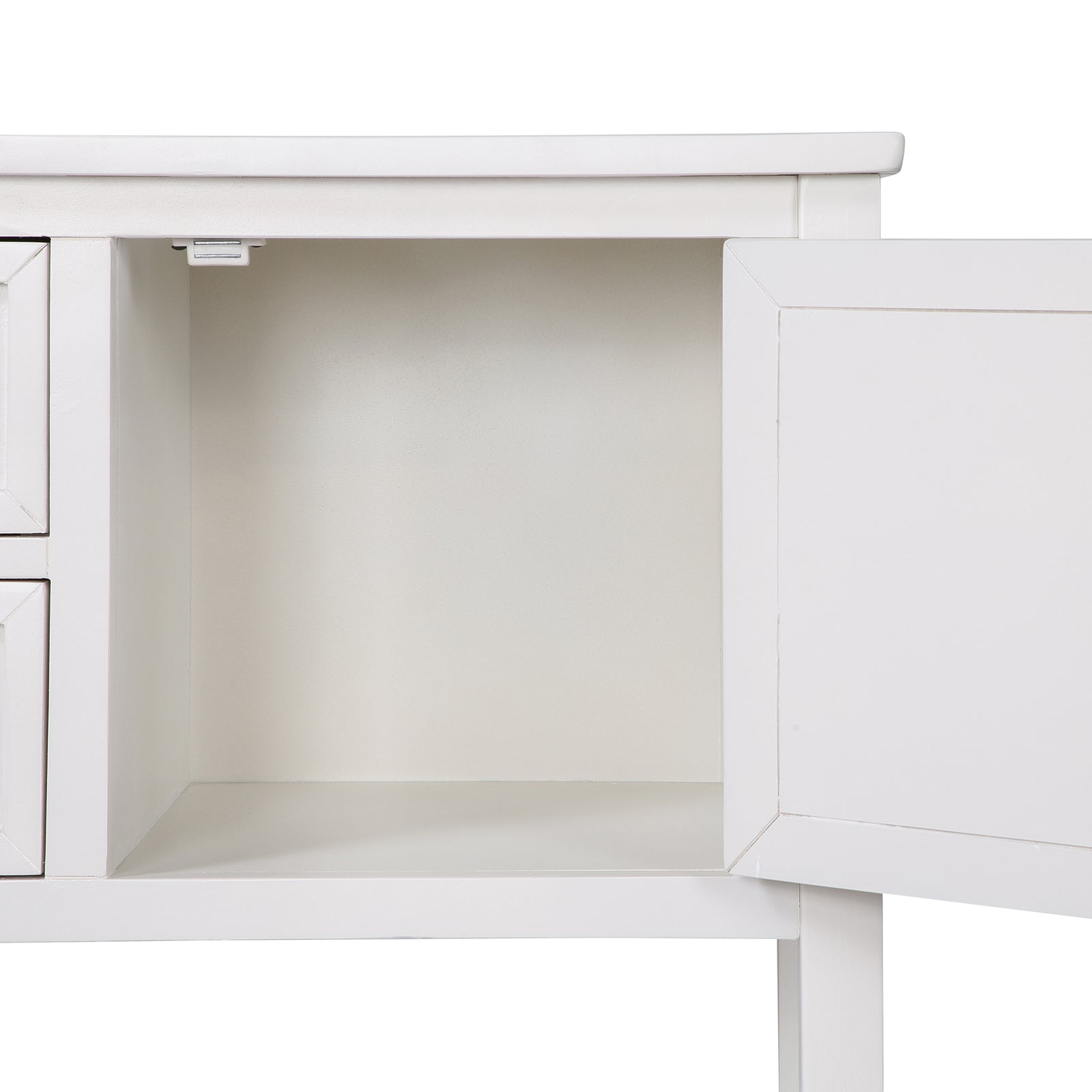 Light Gray Console Table Sideboard with Shutter Doors Two Storage Drawers and Bottom Shelf BH196438