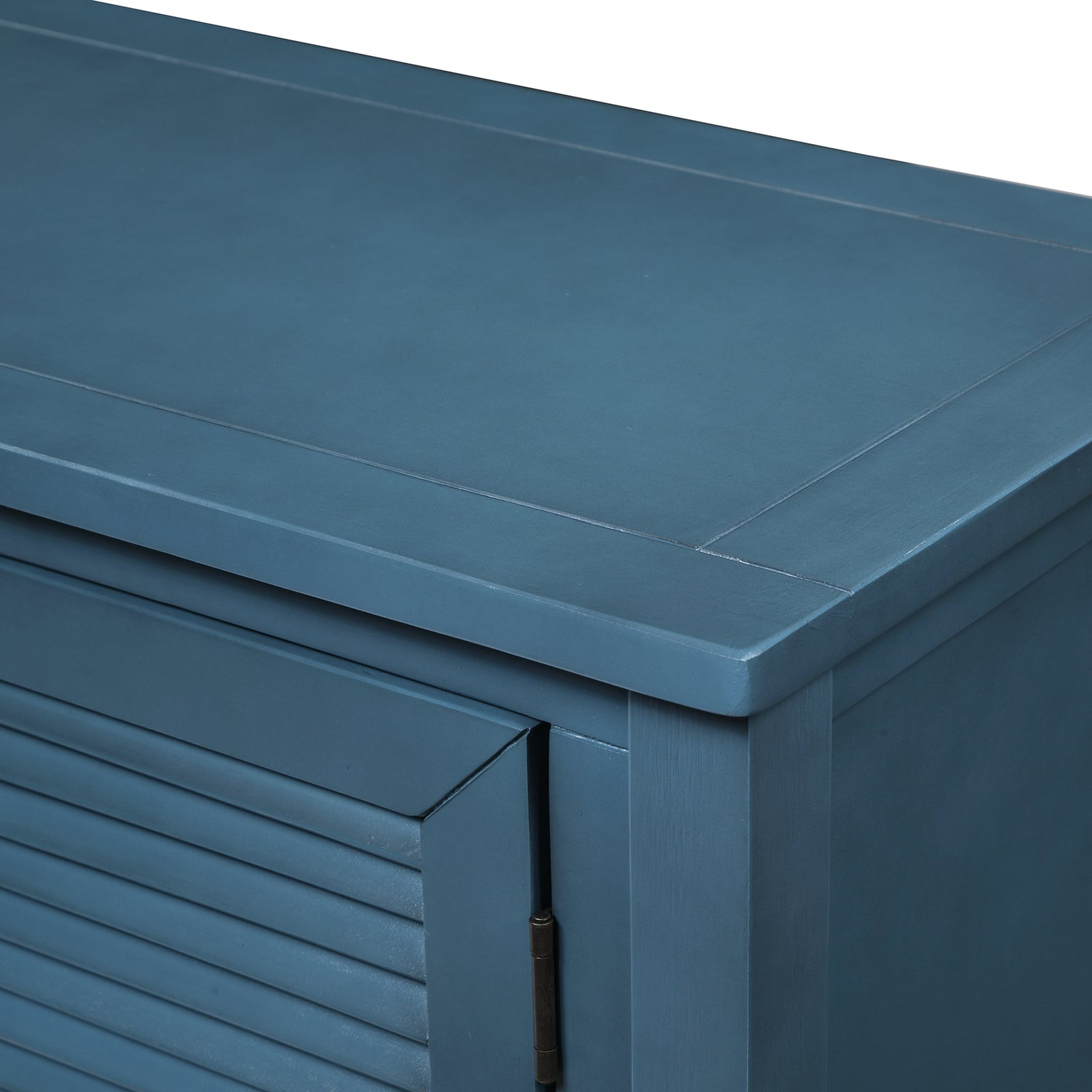 Slate Gray Console Table Sideboard with Shutter Doors Two Storage Drawers and Bottom Shelf BH196438