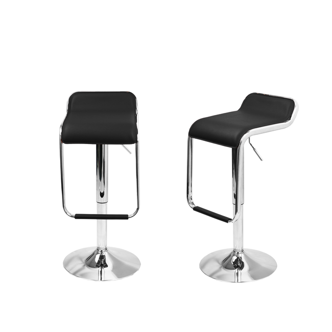 2pc Modern Square Design Counter Stools Bar Stools Kitchen Stools with Backs - Black