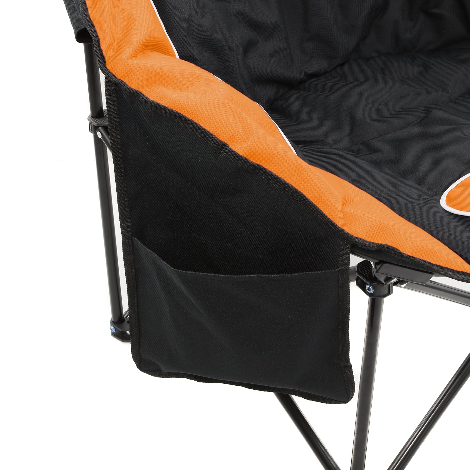 2pc Folding Padded Round Camping Beach Chair with Storage & Carry Bag