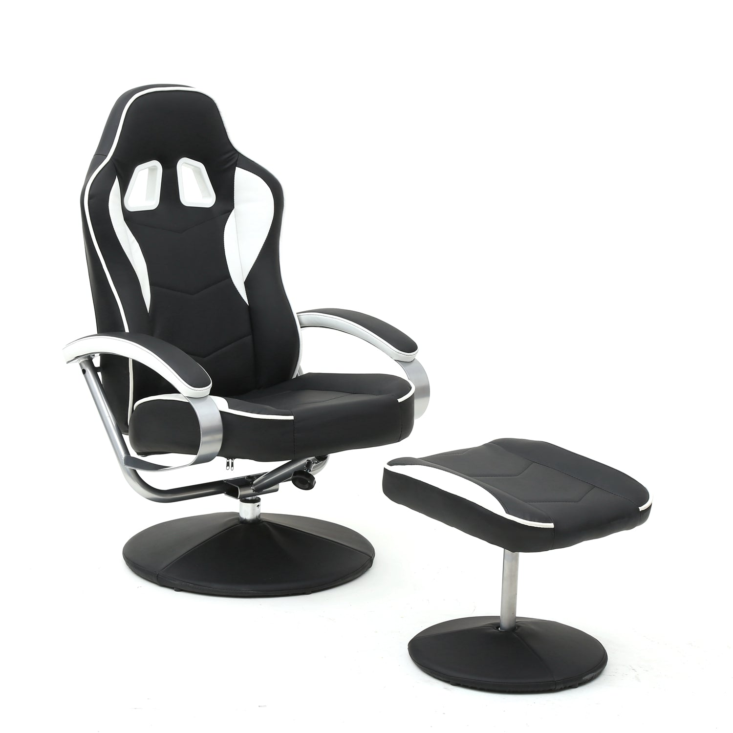 Racing Recliner Chair Set 360 Degree Swivel With Ottoman for Video Game Office Home Theater