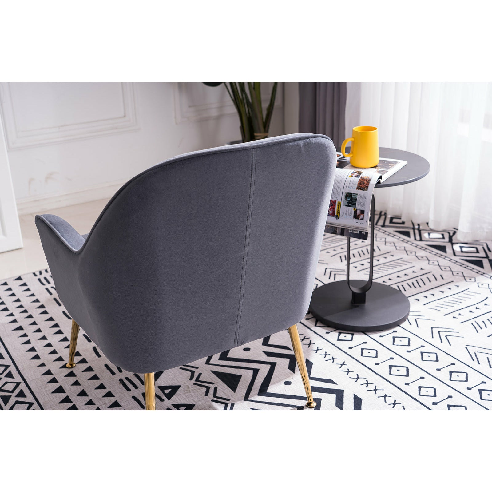 Dark Slate Gray Velvet Accent Chair With Gold Metal Legs BH5272484