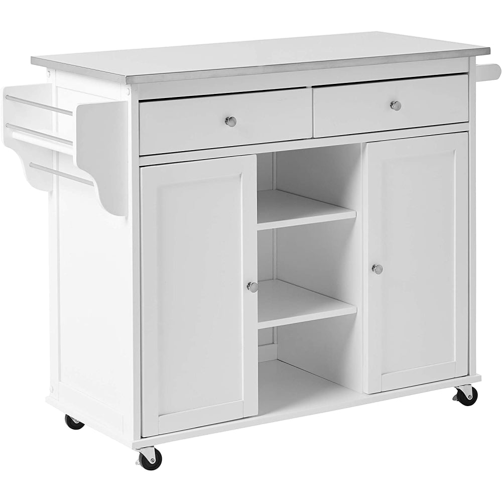 Tullarick Kitchen Cart With Wheels Stainless Steel & White BH98307