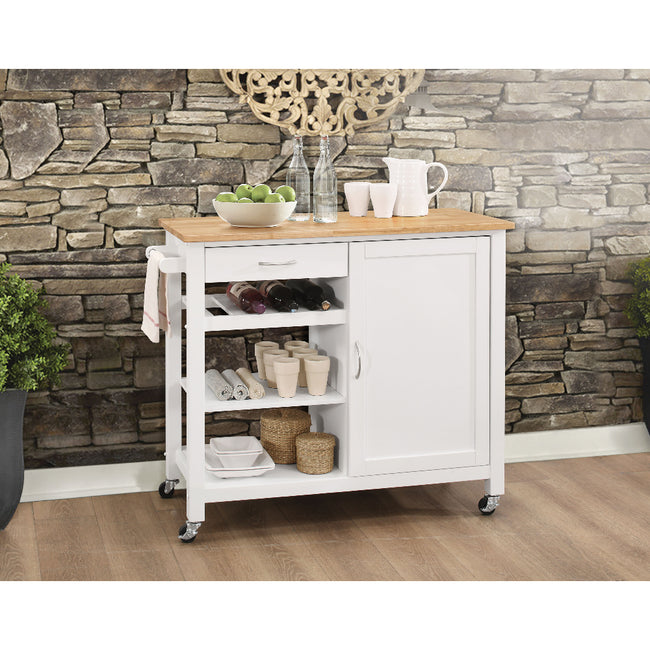 Ottawa Kitchen Cart With Open Storage & Door Natural & White BH98315