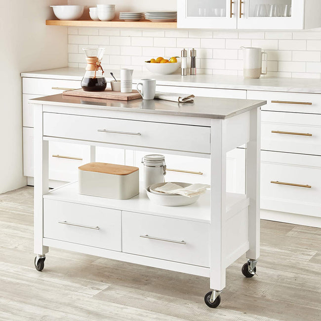 Ottawa Kitchen Cart With Open Shelf Stainless Steel & White BH98330