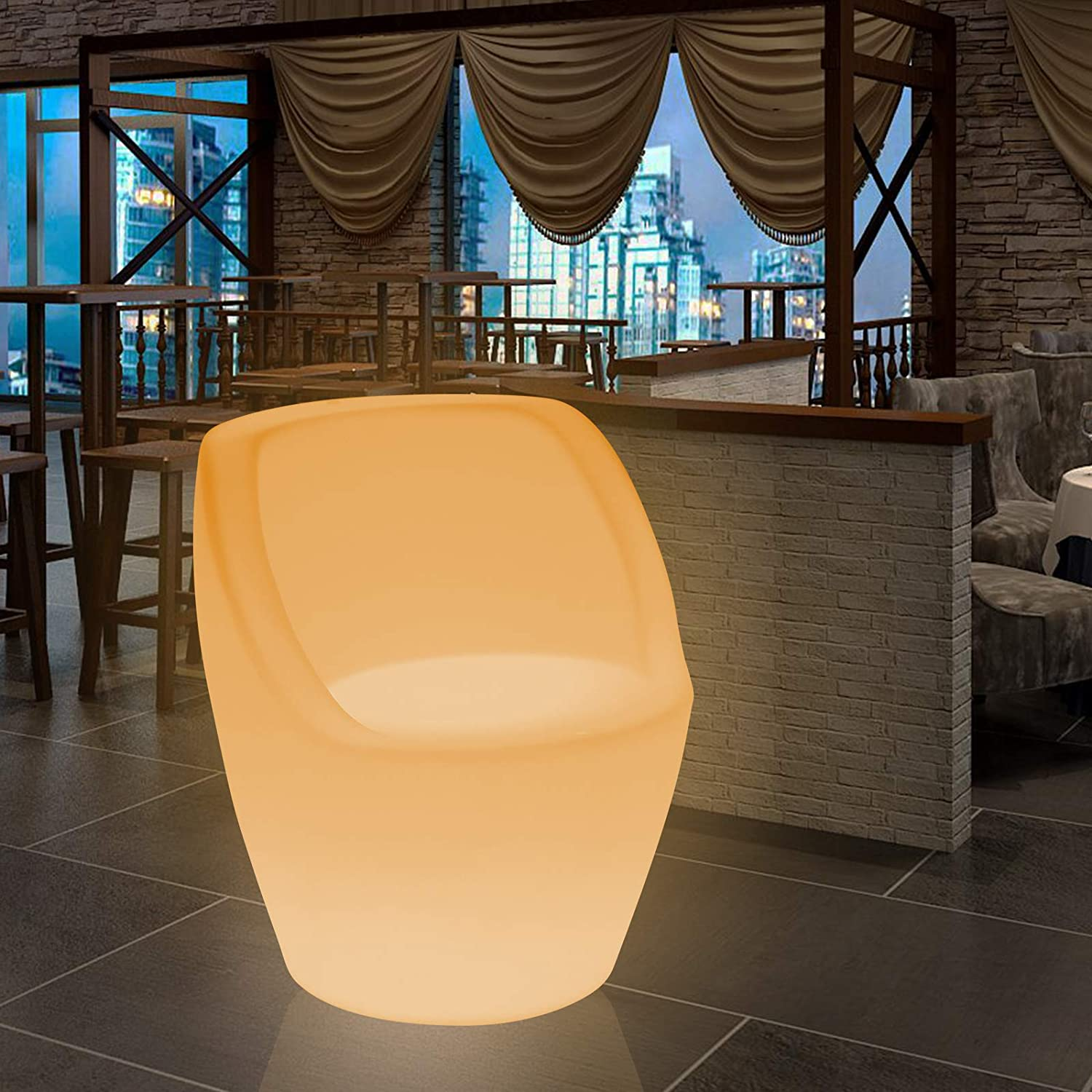 Sandy Brown 16 Color LED Light Up Chair Furniture Pub Club Lounge Party Seat