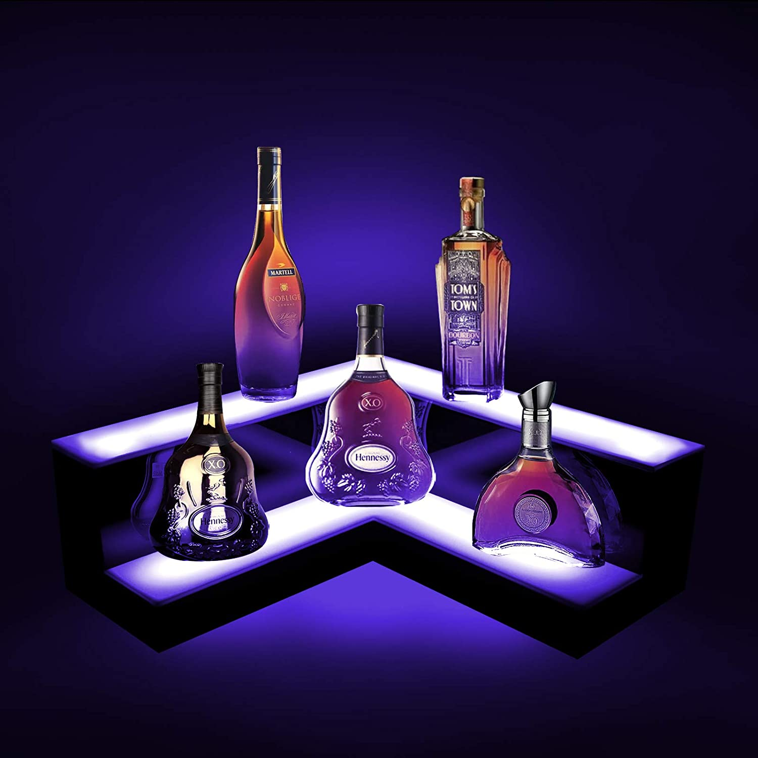 Midnight Blue LED Dynamic  Liquor 2-Tier Shelf Display, L Shape