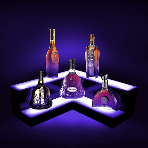 "LED Liquor Shelf 3-Tier Display -20 Color Shifts-Remote Control-23.6"" inch L"