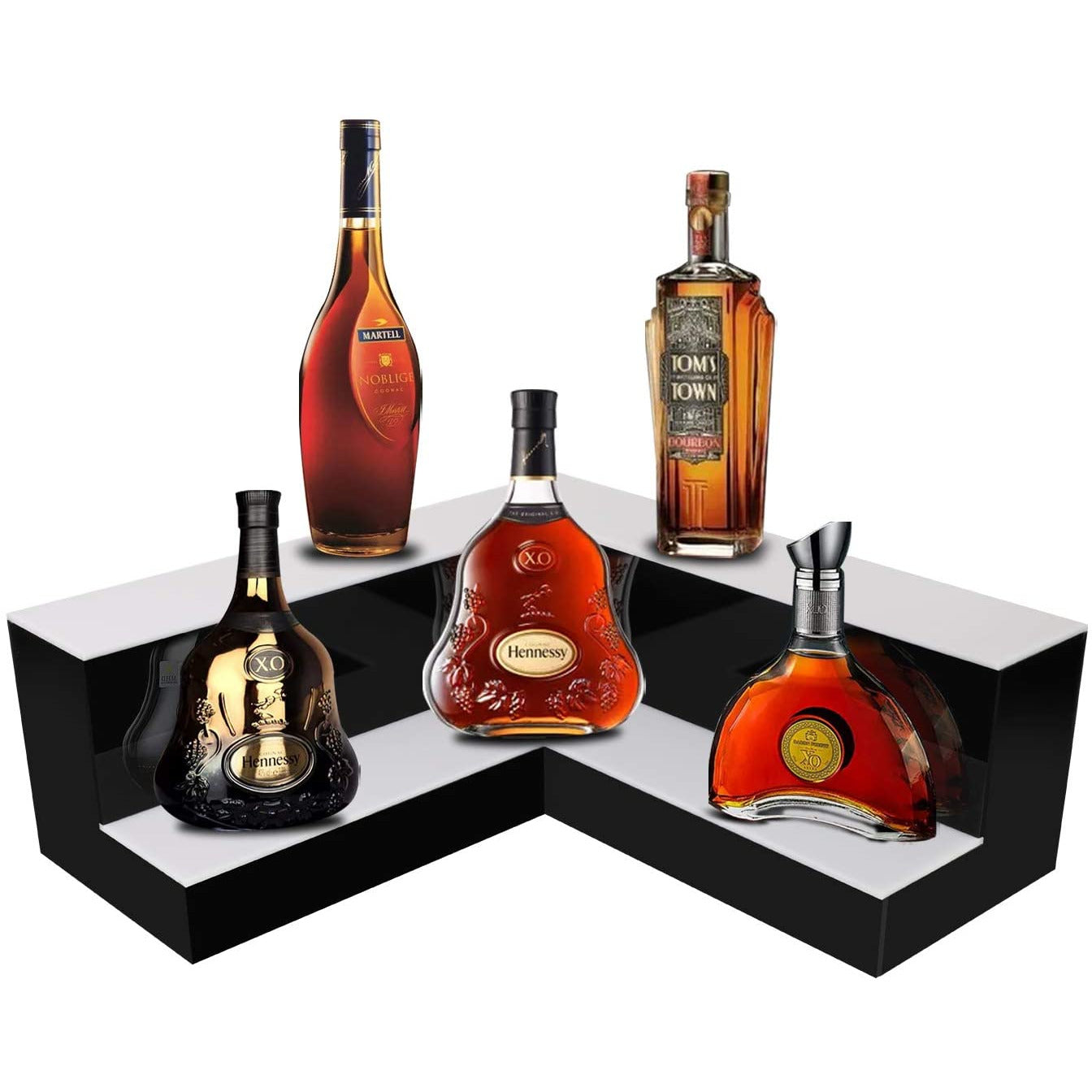 Dark Red LED Dynamic  Liquor 2-Tier Shelf Display, L Shape