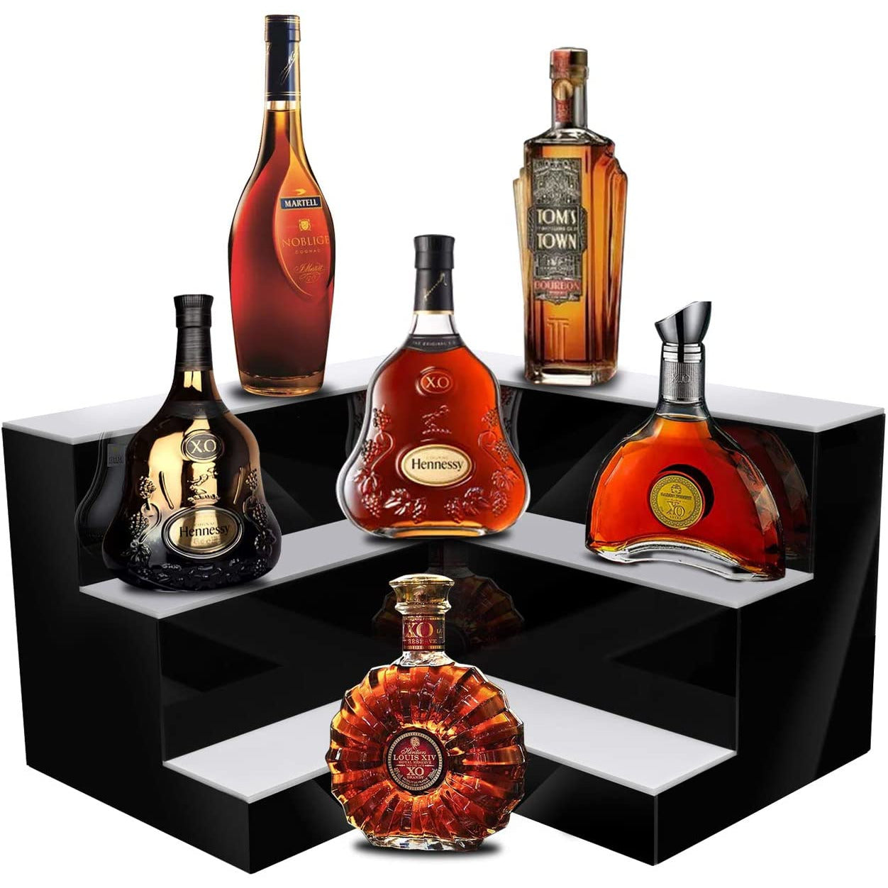 Dark Red LED Liquor 3-Tier Shelf Display,L Shape