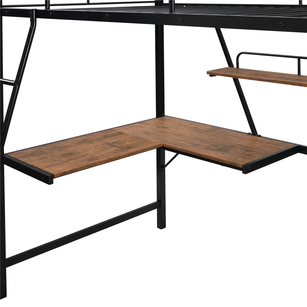 Metal Loft Bed with L-shaped Desk and Shelf SM001105 Black