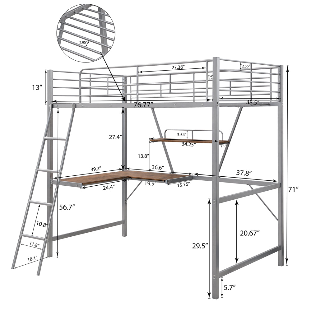 Metal Loft Bed with L-shaped Desk and Shelf SM001105 Silver - Size