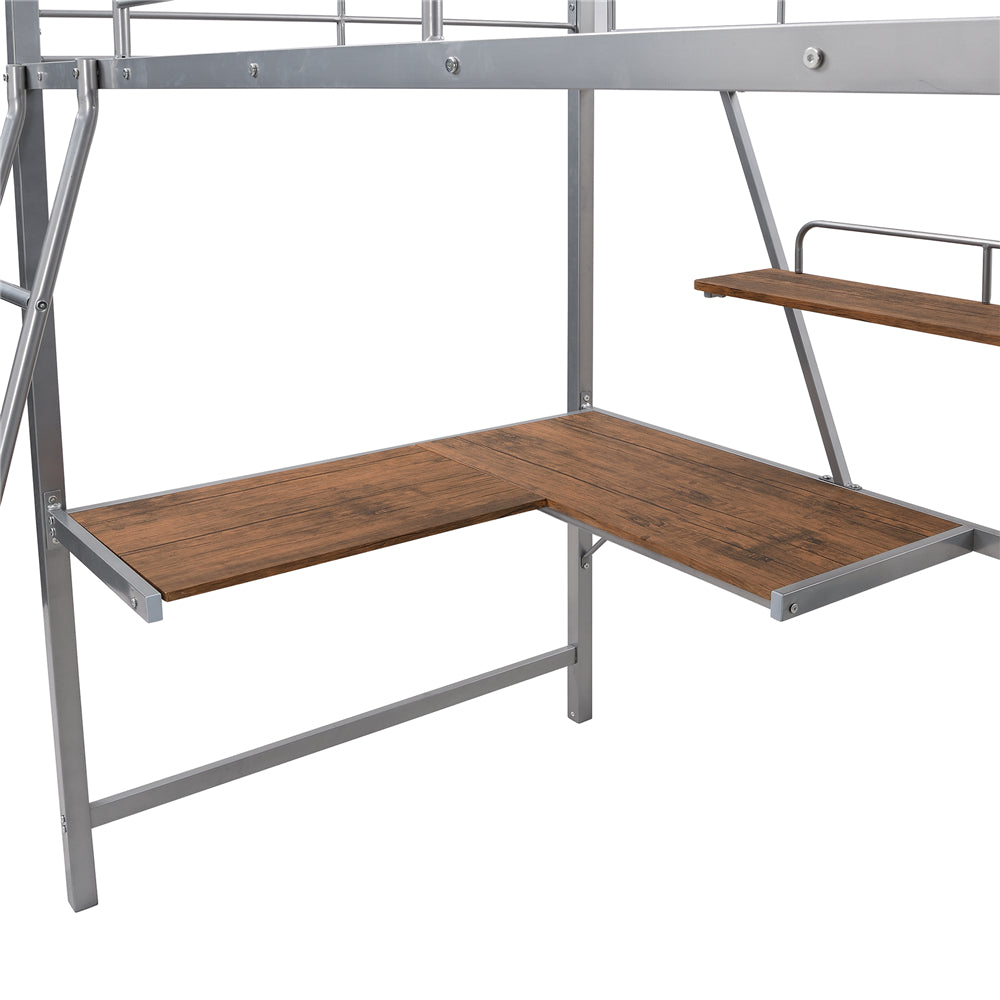 Metal Loft Bed with L-shaped Desk and Shelf SM001105 Silver