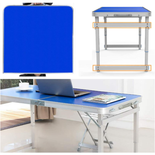 Medium Blue Portable Aluminum Folding Camping Picnic Table with 4 Seats