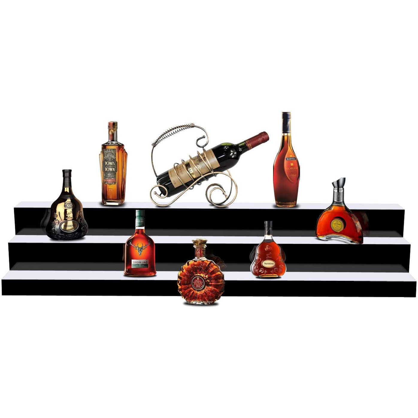 Dark Red LED Liquor 3-Tier Shelf 20 Color Shifts w/Remote Control, 60'' inch L