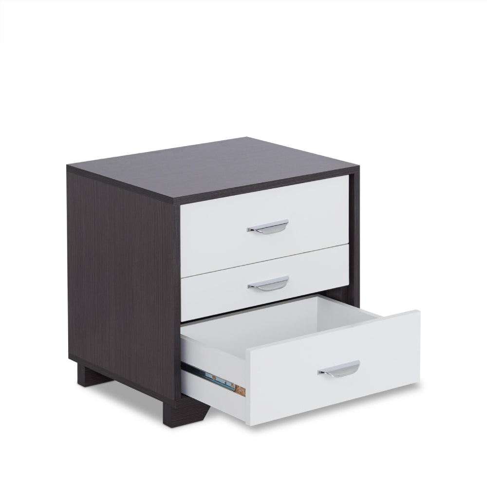Lavender Rectangular Night Table w/3 Drawers in White & Black BH97342