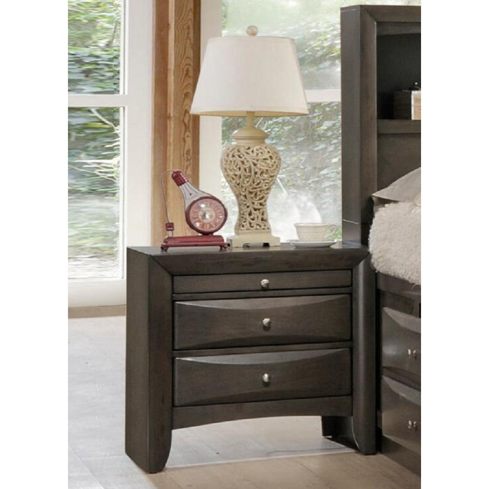 Wooden End Table Side Table Bedroom Nightstand With Two Drawers & A Tray Gray Oak
