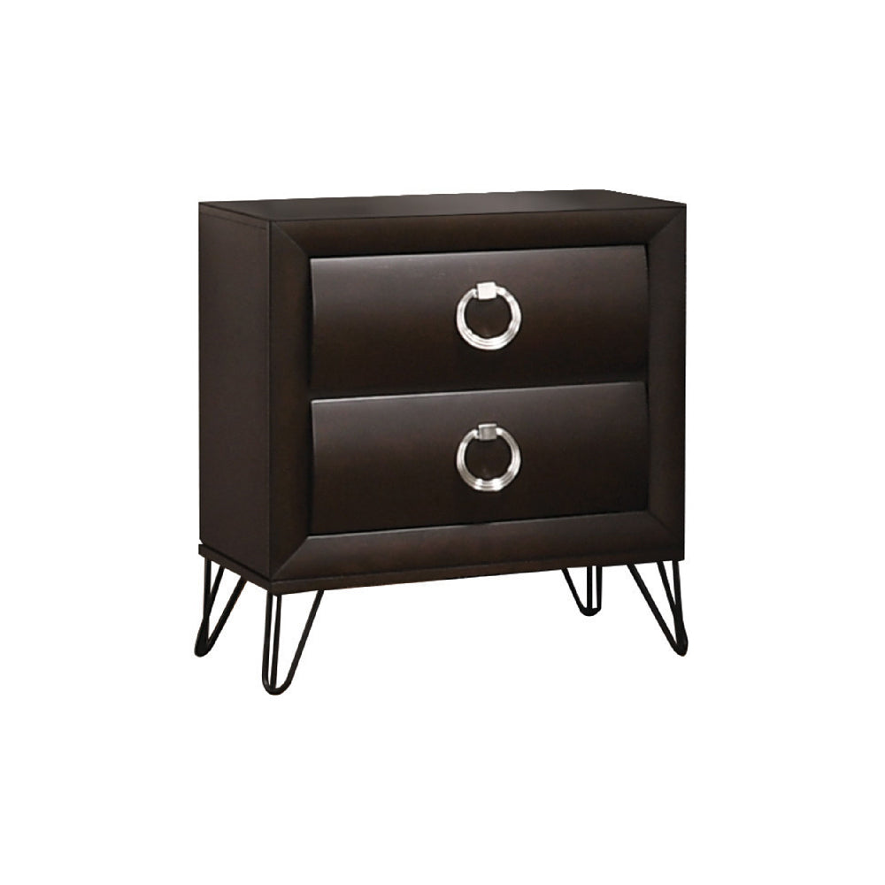 Tablita Nightstand With Curved Fronts Drawers Dark Merlot BH27463