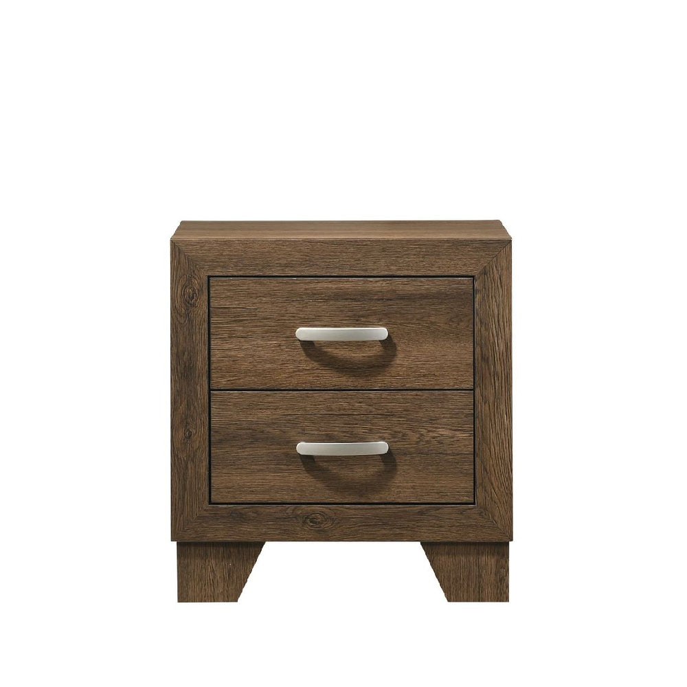 Dark Olive Green 2-Drawer Nightstand With Wooden Block Legs BH28053 BH28043