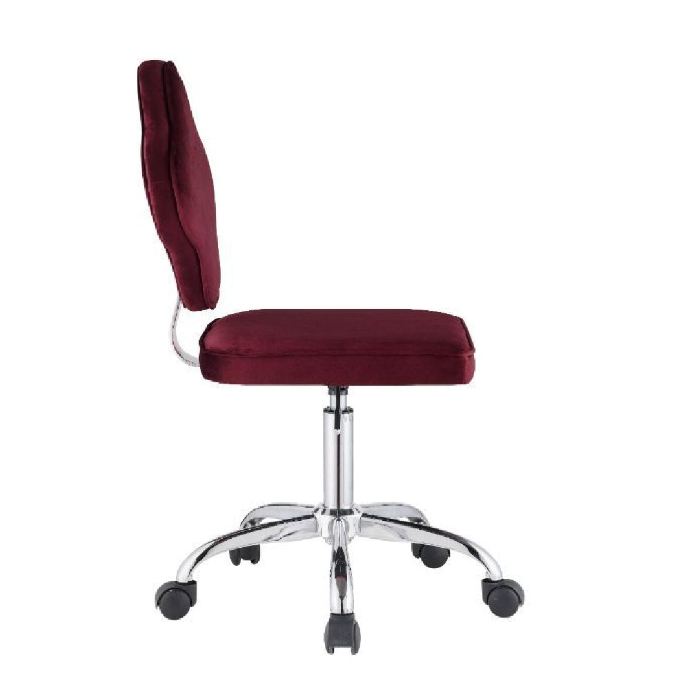 Armless Office Chair With Clover Leaf Shaped Back Red Velvet BH93070