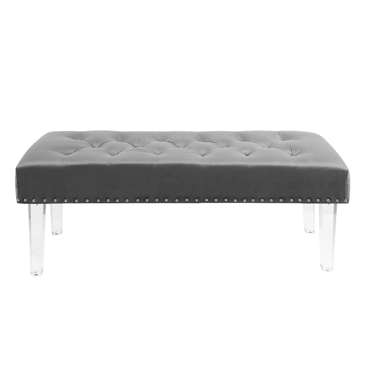 Mid-Century Microfiber Button Tufted Ottoman Bench Seat Footstool Bench