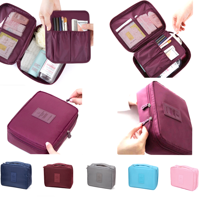 Maroon Travel Cosmetic Makeup Toiletry Wash Organizer Storage Pouch Zip Bag