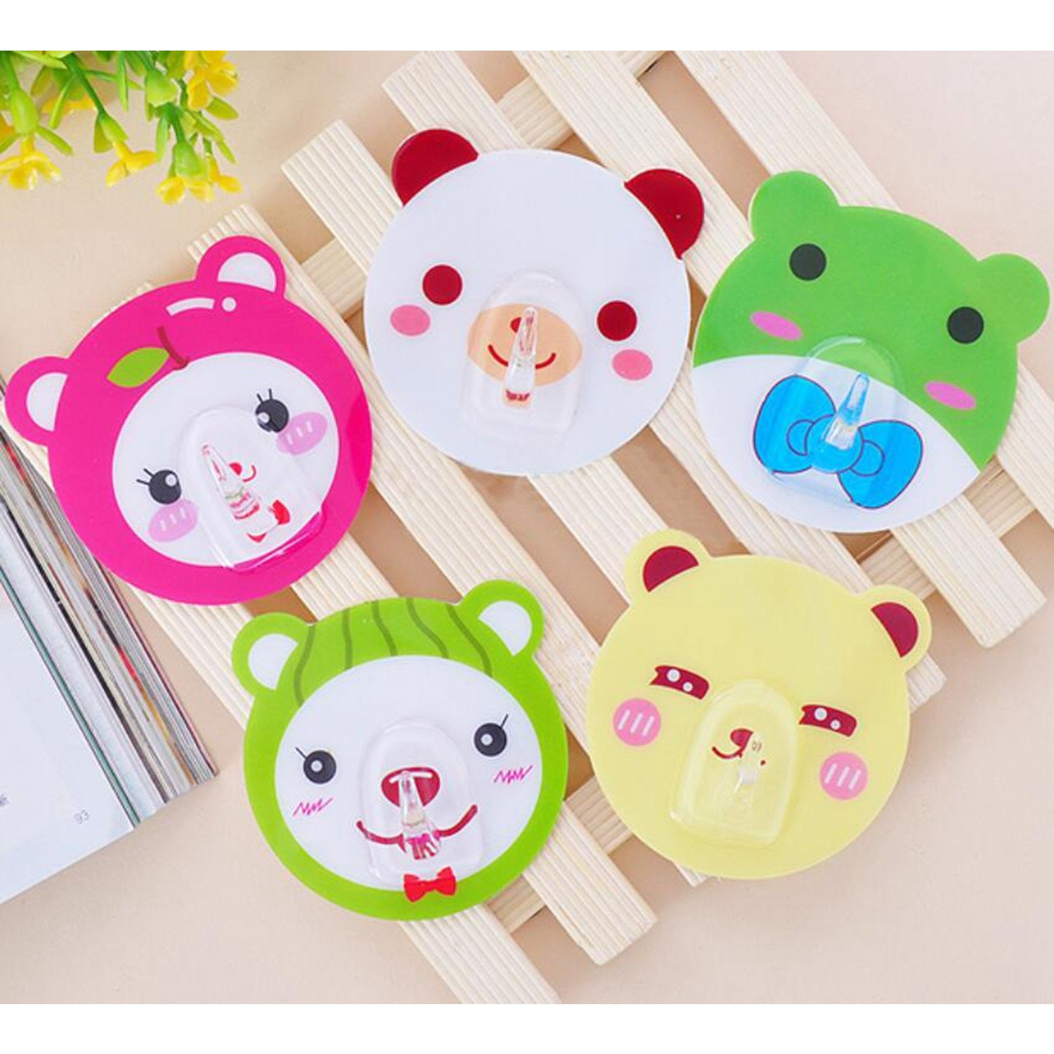Cute Cartoon Animal Wall Hanger Hook Strong Adhesive Removable Kid Room - 5 Pack