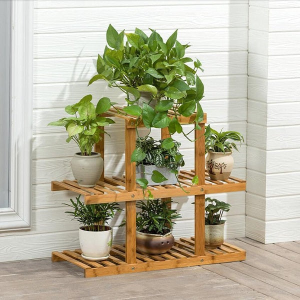 Olive Drab Heavy Duty Flower Planter Solid Multiple Tier Plant Stand Long Bamboo Flower Rack Table Outdoor Shelf for Plants Modern