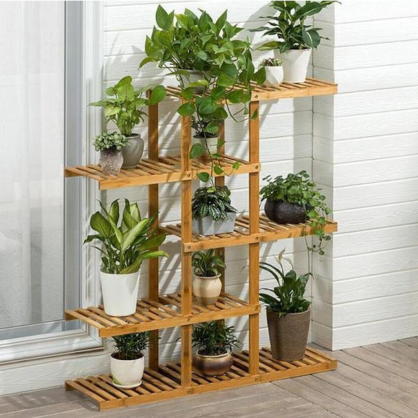 Sienna Heavy Duty Flower Planter Solid Multiple Tier Plant Stand Long Bamboo Flower Rack Table Outdoor Shelf for Plants Modern