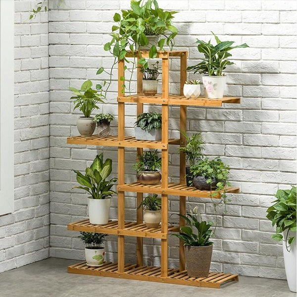Dim Gray Heavy Duty Flower Planter Solid Multiple Tier Plant Stand Long Bamboo Flower Rack Table Outdoor Shelf for Plants Modern