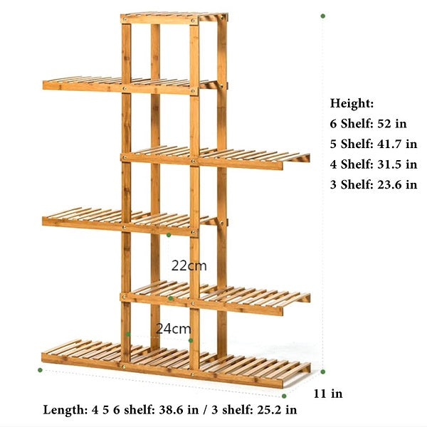 Goldenrod Heavy Duty Flower Planter Solid Multiple Tier Plant Stand Long Bamboo Flower Rack Table Outdoor Shelf for Plants Modern