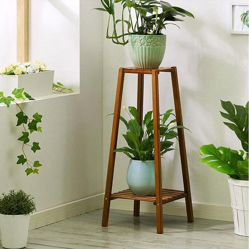 Bamboo 2 Tier Tall Plant Stand Indoor Flower Pot Holder Small Space