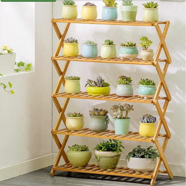 Wooden Long Plant Shelf Outdoor Multiple Tier Flower Rack Table Plant Stand Shelves Garden 3 Size