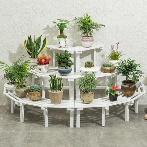Multi Tier Outdoor Plant Stand Garden Plant Shelf Table Outdoor Corner Rack White Wood - 2 Size
