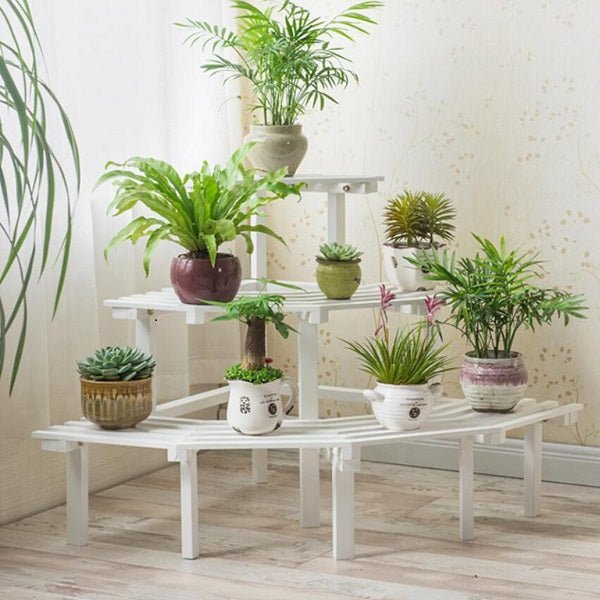 Dark Olive Green Multi Tier Outdoor Plant Stand Garden Plant Shelf Table Outdoor Corner Rack White Wood - 2 Size