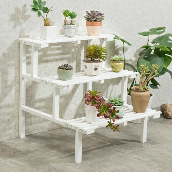 Rosy Brown Multi Tier Outdoor Plant Stand Garden Plant Shelf Table Outdoor Corner Rack White Wood - 2 Size